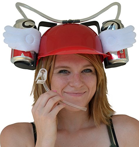 [Fairly Odd Novelties Beer Soda Guzzler Helmet Drinking with Angel Wings Party Hat, Red] (Beer Drinking Hat)