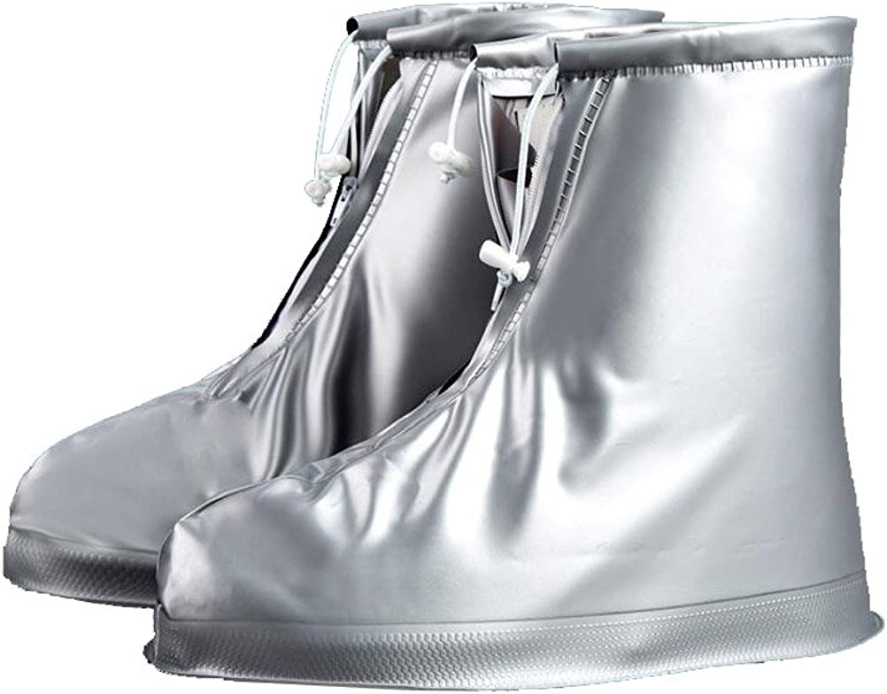 Jamron Women Reusable Waterproof PVC Rain Snow Boots Overshoes Anti-Slip Protective High Top Shoes Cover With Hook/&Loop Straps//Buttons