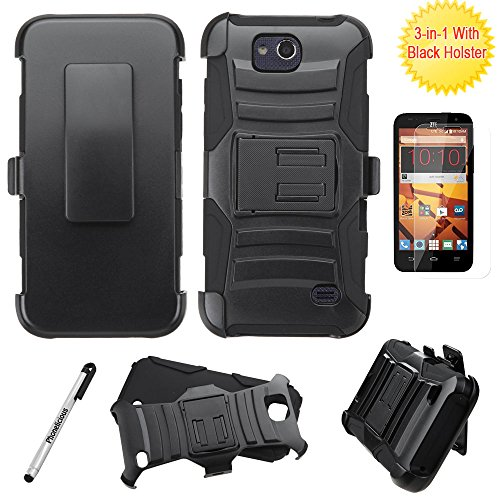 ZTE MAJESTY PRO Case / ZTE MAJESTY PRO PLUS Case, Phonelicious Xtreme Armor [Heavy Duty] Hybrid Dual Layer Kickstand Belt [Holster Clip] Combo Rugged Tuff+ Screen Protector & Stylus (BLACK XC)