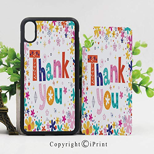 Case for iPhone X,Quote Surrounded with Flowers Blossoms and Leaves Like Festive Spring Art Hard Case with TPU Bumper Protective Case Cover,Multicolor