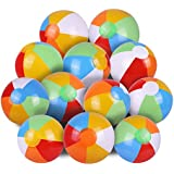 "SYZ 12"" Beach Balls Bulk - Inflatable Swimming Pool Toys for Kids Birthday Party Supplies Favors Luau Decorations - Blow Up Classic Rainbow Color Beachball Summer Water Games Fun Gifts (12 Pack)"