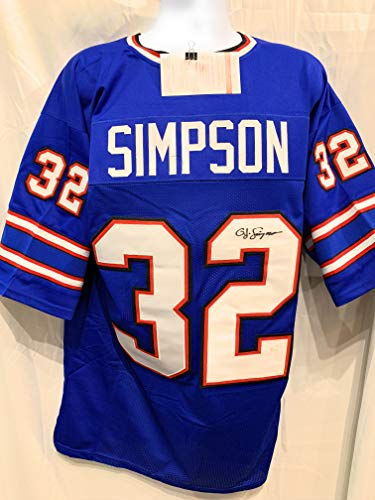 OJ Simpson Buffalo Bills Signed Autograph Blue Custom Jersey JSA Witnessed Certified
