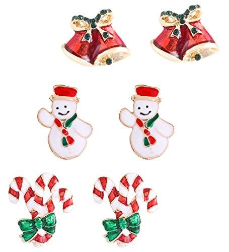 Enameled Holiday Bells - HSWE Women's Christmas Jewelry Set Christmas Drop Earring Studs Thanksgiving Gift Accessories Set of 3 Pairs Snowman Candy Cane