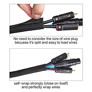 Alex Tech 25ft – 1/2 inch Cord Protector Wire Loom Tubing Cable Sleeve Split Sleeving For USB Charger Cable Power Cord Audio Video Cable – Protect Cat From Chewing Cords – Black