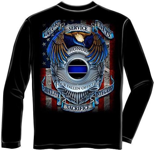Law Enforcement 100% Cotton Honor Our Fallen Officers Long Sleeve T-Shirt Medium
