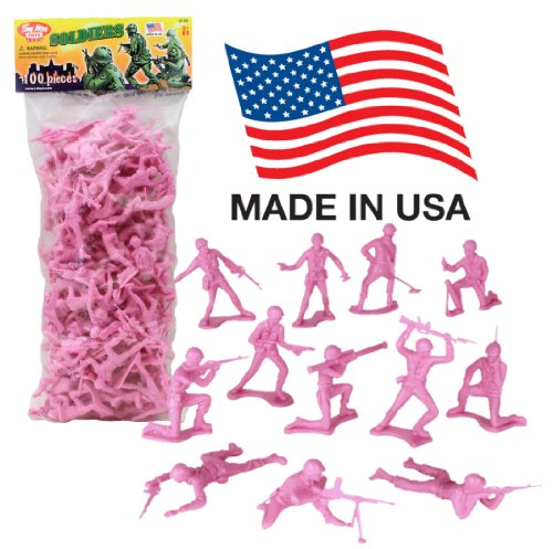 TimMee Plastic Army Men: Pink 100pc Toy Soldier Figures - Made in USA - Fields Green Pants