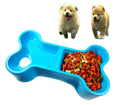 Small Plastic Dog Food Bowl, Bone shape, Easy to use, Durable strong, For food with water. (blue) 1 - Michigan Rays Electric