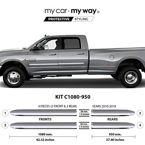 My Car My Way (Fits Ram 2500-3500 2010-2018 8′ Box Crew Chrome Body Side Molding Door Guard Moulding Cover Trim Door Protector