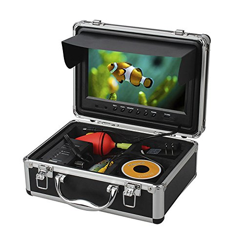 Eyoyo Professional 9 inch LCD Monitor HD 1000TVL Camera with 12 Adjustable Infrared LED Lights Underwater Ice/Lake Fishing Video Camera DVR Fish Finder w/8GB TF Card 30M (High Resolution Fishfinder)