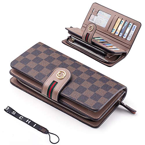 Women Wallet RFID Block Checkered Wristlet Wallet Leather Clutch Cards Holder Organizer ()