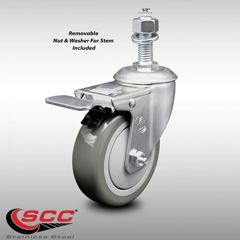 Stainless Steel Polyurethane Swivel Threaded Stem Caster w/4'' x 1.25'' Gray Wheel and 1/2'' Stem & Total Locking Brake - 300 lbs Capacity/Caster - Service Caster Brand