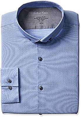 Calvin Klein Men's Stretch Xtreme Slim Fit Textured Solid Buttondown Collar Dress Shirt