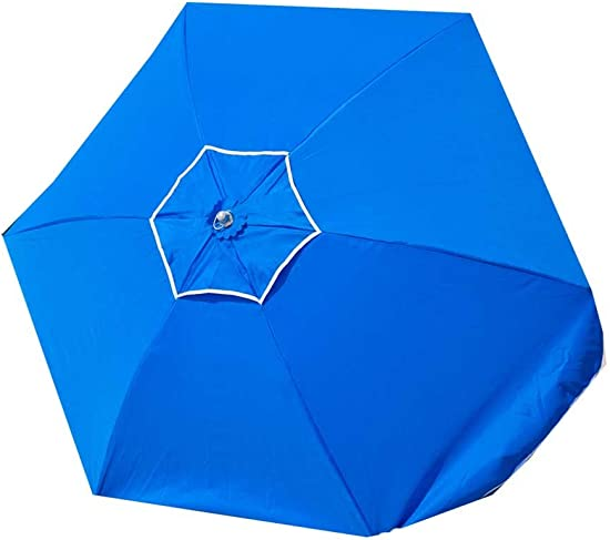 7.5 ft Frankford 50 UPF Wood Beach Umbrella – Olefin Fabric with Carry Bag