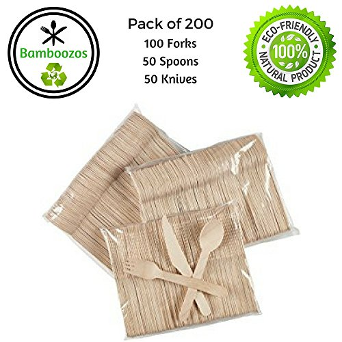 "Disposable Wooden Cutlery set by Bamboozos | 100% All-Natural, Eco-Friendly, Biodegradable, and Compostable - Pack of 200- 6.5"" kitchen utensils (Set of 100 forks, 50 spoons, 50 (Halloween 2017 Party Chicago)"