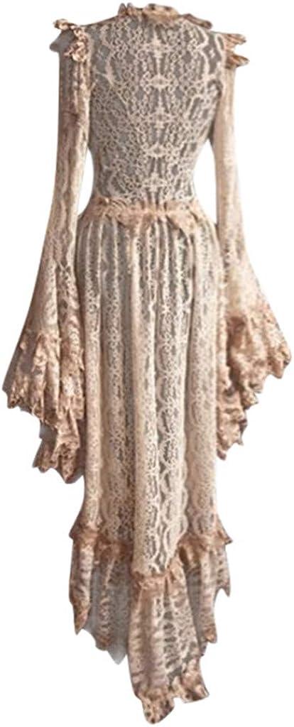 Ucoolcc Robe Dentelle Courte M/édi/évale Vintage Robe Mariage Soir/ée de Bal Gothique Femme Steampunk M/édi/éval R/étro Vintage Mi-Longues Manches Courtes Dentelle Robe de Cocktail