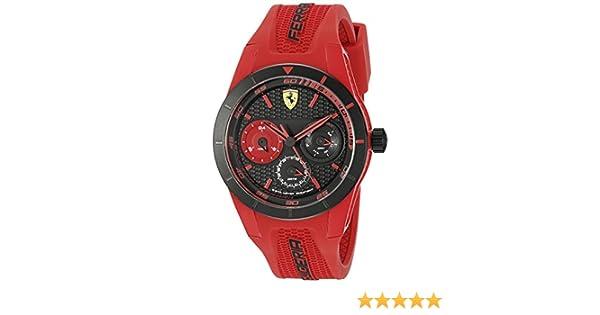 fd9b9d1af7e Amazon.com  Ferrari Men s 0830258 REDREV T Analog Display Quartz Red Watch   Watches