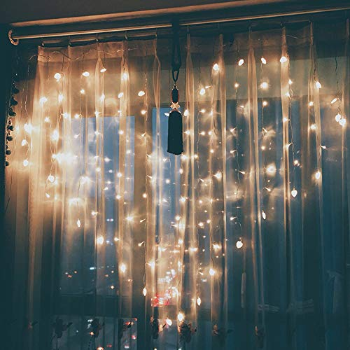 Glumes 124 LED Lover Heart String Lights Curtain Lights, 6.56 x 4.92ft 8 Modes, Hanging Indoor Outdoor Decoration for Christmas Party Wedding Holiday Birthday Garden Patio Bedroom (Multicolor)
