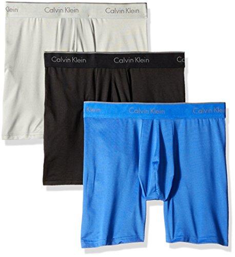 Calvin Klein Men's Microfiber Stretch Multipack Boxer Briefs, Black/Cobalt Water/Grey Heather, Medium