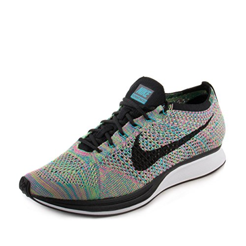 Nike Unisex Flyknit Racer Green Strike/Black Blue Lagoon Running Shoe 10 Men US / 11.5 Women US by NIKE (Image #5)