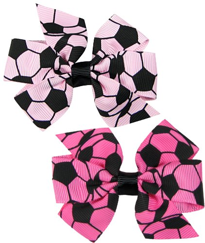 "Price comparison product image Hip Girl Boutique 2pc 3"" Lt Pink and Hot Pink Soccer Grosgrain Ribbon Pinwheel Hair Bow Alligator Clips"