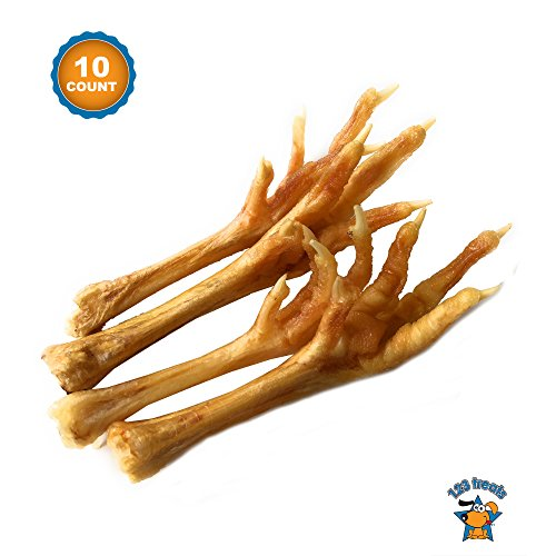 123 Treats - Chicken Feet for Dogs Made in The USA (10 Count) Natural Joint Dog Chews - Excellent Source of Chondroitin ()