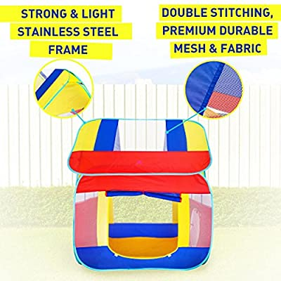 Kiddey Kids Play Tent, Great Playhouse Tent for Indoor/Outdoor, Pops Up no Assembly Required, with Convenient Carry Case for Easy Storage and Travel, Promotes Creativity, Imagination, Early Learning: Toys & Games