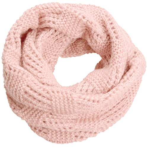 NEOSAN Women Warm Chunky Ribbed Knit Winter Infinity Loop Scarf Plaid Light Pink