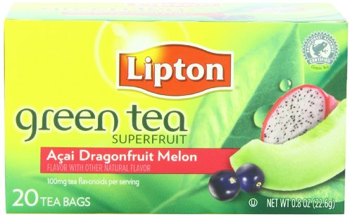 Lipton Tea Bag Green Tea Superfruit Acai, Dragonfruit and Melon, 20 Count Package (Green Tea Tea Melon)