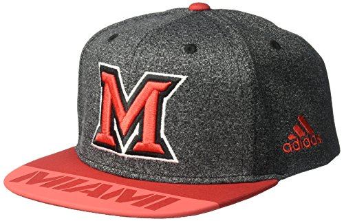 adidas NCAA Miami (Ohio) Redhawks Adult Men Player Flat Brim Snapback, One Size, Black