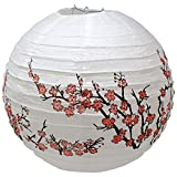 Just Artifacts 16'' Red Peach Blossom Flowers White Color Chinese/Japanese Paper Lantern/Lamp - Just Artifacts Brand