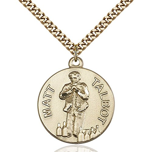 Gold Filled Matt Talbot Pendant 1 X 7/8 inches with Heavy Curb Chain by Bonyak Jewelry Saint Medal Collection