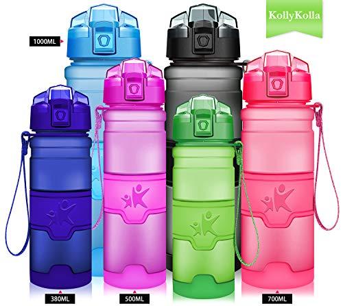 (KollyKolla Water Bottle BPA Free Tritan, Opens with 1-Click Flip Top Leak-Proof Lid, Kids Drinks Bottle, Reusable Water Bottles with Filter, for Sports, Outdoors, Gym, Yoga, (500ml Matte Green))
