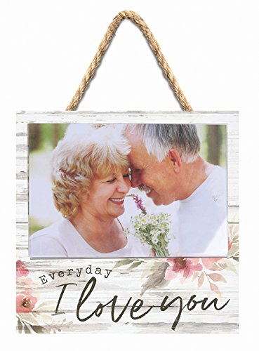 P GRAHAM DUNN Everyday Love You Floral White 7 x 7 Inch Pine Wood Wall Hanging Photo Pallet Frame