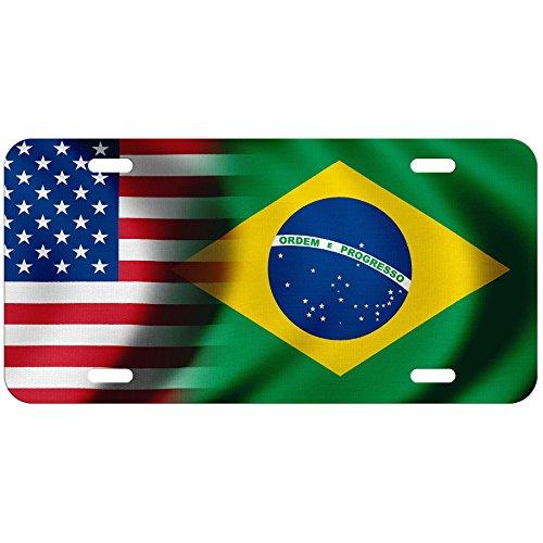 High Grade Aluminum License Plate - Flag of Brazil (Brazilian) - Waves/USA