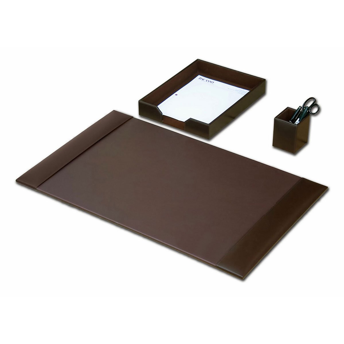 Desk Accessory Set, 3-piece Genuine Brown Leather