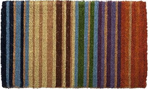 Rainbow Stripe Hand Made Extra Thick Coir Doormat 18