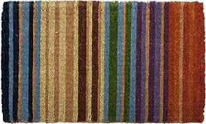 "Rainbow Stripe Hand Made Extra Thick Coir Doormat 18"" x 30"""