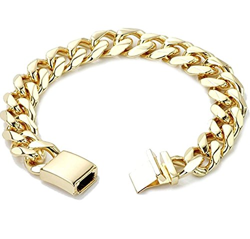 (Gold Cuban Link Chain Necklace for Men Real 14MM 24K Karat Diamond Cut Heavy w Solid Thick Clasp US MADE (8.3, BRACELET))