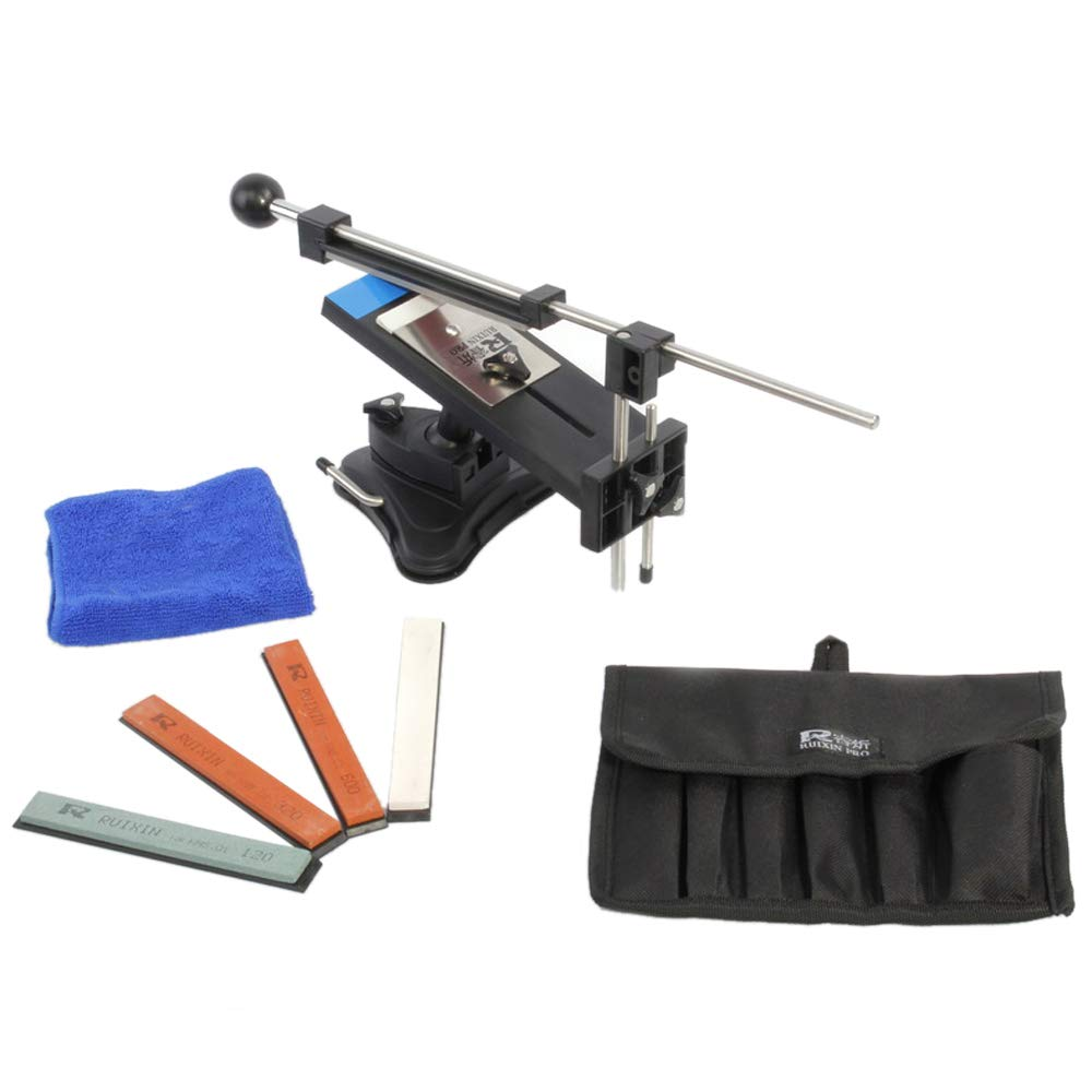 KKmoon Upgraded Version Fixed-angle Knife Sharpener Kits WIth 4 Sharpening Stones(120#,320#,600#,1500#) For Kitchen Knife, included Carrying case and Cleaning Cloth