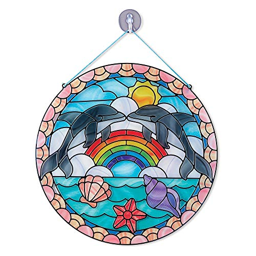 Stained Glass Crafts (Melissa & Doug Stained Glass Made Easy Activity Kit, Arts and Crafts, Develops Problem Solving Skills, Dolphins, 180+ Stickers, Great Gift for Girls and Boys - Best for 5, 6,)