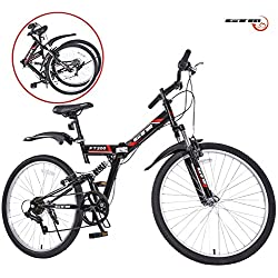 GTM 26-Inch 7 Speed Folding Mountain Bicycle with Adjustable Seat, Handle and Shimano Hybrid Suspension, Black