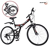 GTM 26' Folding Mountain Bike 7 Speed Bicycle Shimano Hybrid Suspension MTB