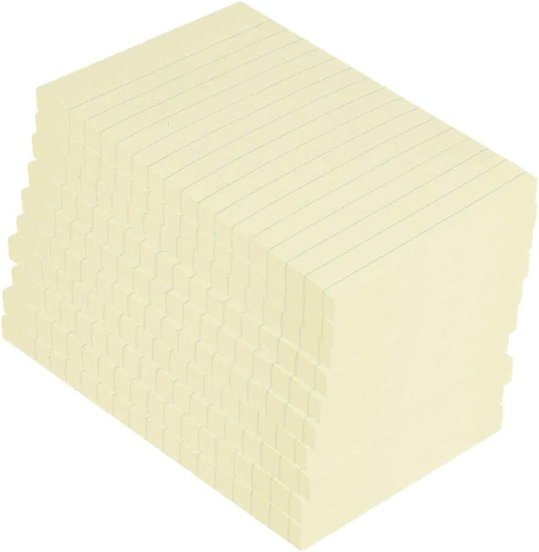 1InTheOffice Sticky Notes 4x6, Self-Stick Note Pads, Lined Sticky Notes, 4 x 6, Yellow, 100-Sheet, 12/Pack