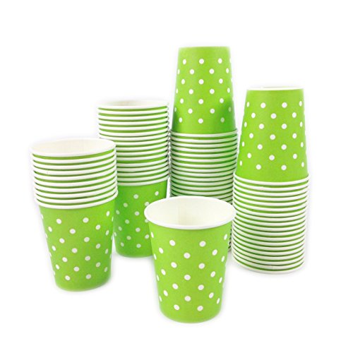 Black Cat Avenue 100 Pack 8oz Disposable Green Polka Dots Paper Cups For Coffee Cocoa Chocolate Latte Cappuccino