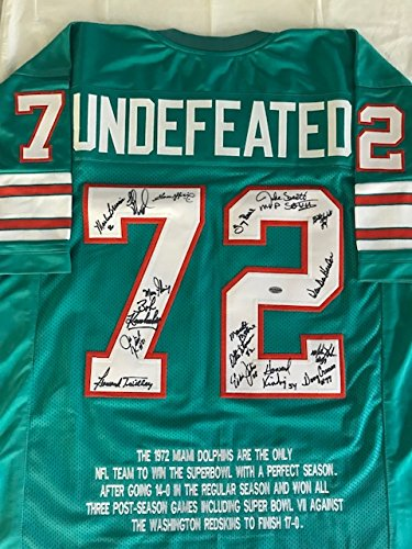 1972 Miami Dolphins Team (1972 MIAMI DOLPHINS TEAM SIGNED AUTOGRAPH UNDEFEATED JERSEY 17 SIGNATURES COA LEAF AUTHENTICS)