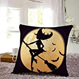 Cotton Linen Square Decorative Throw Pillow Case Personalized Cushion Cover Halloween Gifts Ghost Bats Pumpkin and Owls Trick or Treat By WuyiMC(A-P) (P)