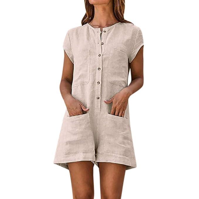 Verkauf Einzelhändler neueste Top-Mode PinkLu Overall Damen Sommer,Böhmischer Stil Volltonfarbe Baumwolle Leinen  Süße Taschen-Jumpsuit-Shorts Schwarzer Beige Overall