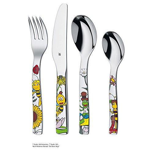 WMF La abeja Maya - Vajilla para niños 6 piezas, incluye plato, cuenco y cubertería (tenedor, cuchillo de mesa, cuchara y cuchara pequeña) (WMF Kids ...