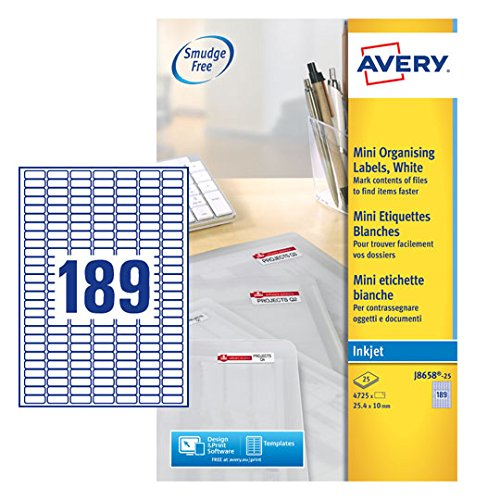 Avery J8658-25 Self-Adhesive Mini Filing Labels, 189 Labels Per A4 ()
