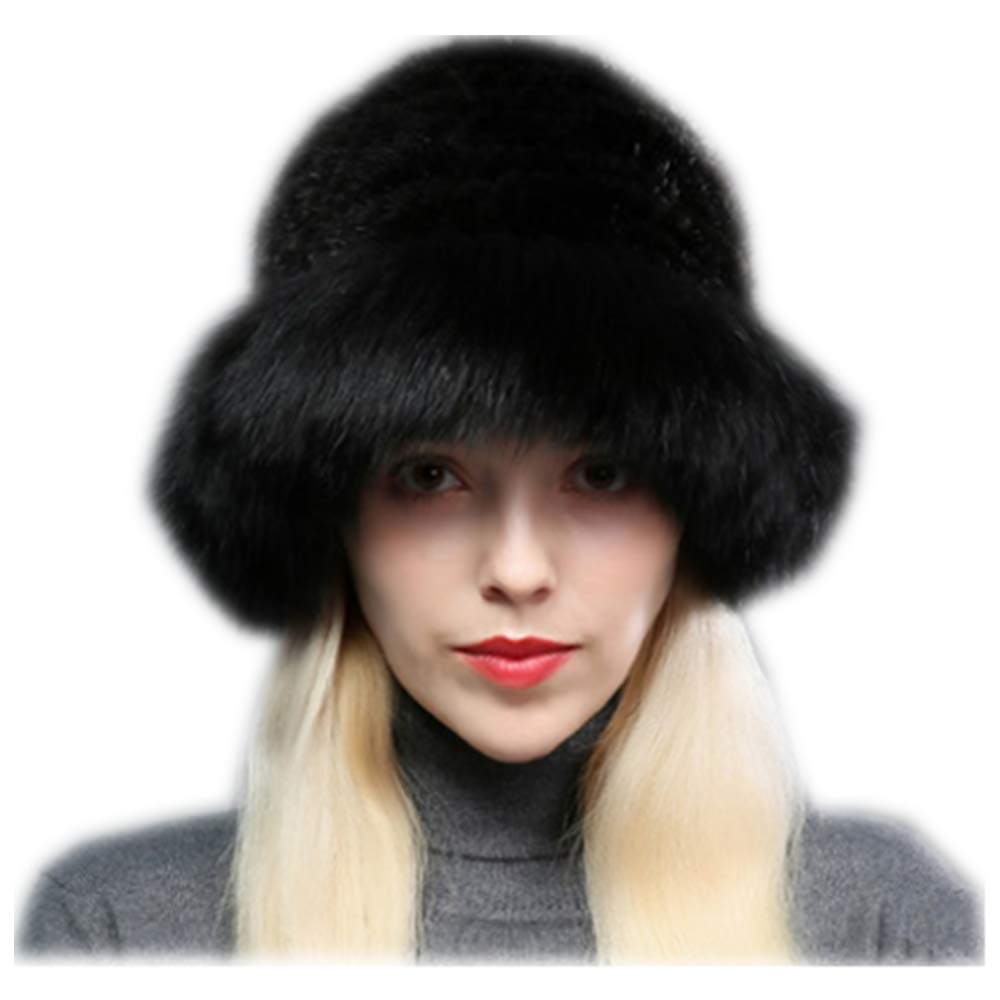 MH Bailment Womens Winter Hat Knitted Mink Real Fur Hats Fox Brim (One Size, Black)